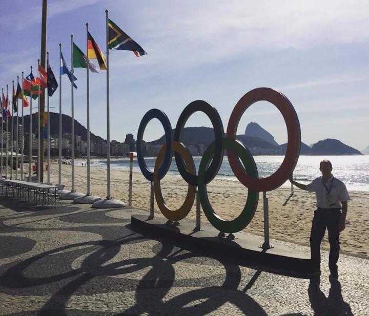 Olympic rings at Copacabana